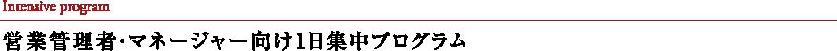 Intensive program 営業管理者・マネージャー向け1日集中プログラム